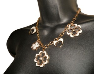 Laura Ford Laura Ford Gold Tone and White Heart and Clover Necklace