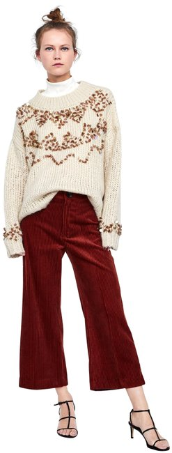 Zara Maroon The Vintage High Rise Corduroy Culotte Style No. 80089348-4 Pants Size 10 (M, 31) Zara Maroon The Vintage High Rise Corduroy Culotte Style No. 80089348-4 Pants Size 10 (M, 31) Image 1