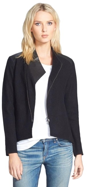 Item - Black Leather Trim Merino Wool Jacket Size 10 (M)