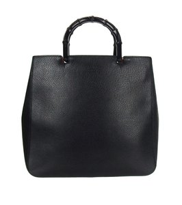 Gucci Bamboo Leather Tote in Black and Red