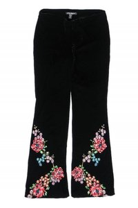 Betsey Johnson Casual Velvet Flare Pants black