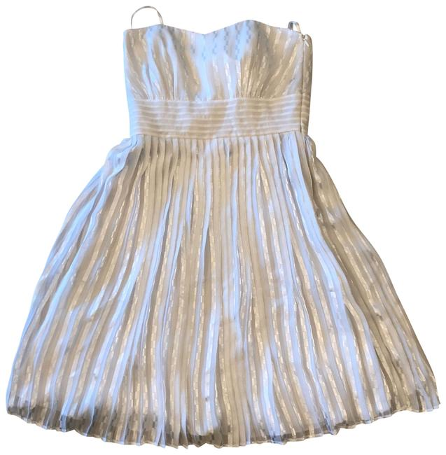 Item - Silver Strapless Mid-length Cocktail Dress Size 6 (S)