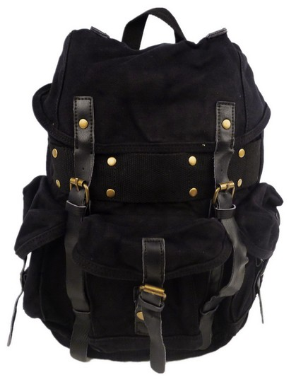 Preload https://img-static.tradesy.com/item/26621269/145-tall-medium-size-stylish-cotton-c02blk-black-canvas-backpack-0-0-540-540.jpg