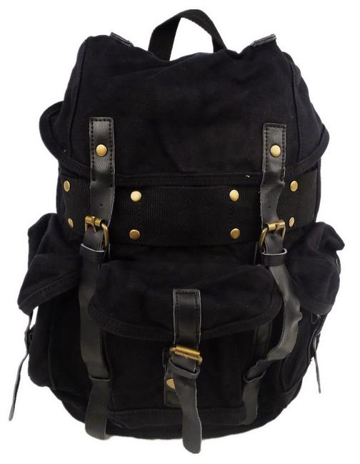 "Vagarant 14.5"" Tall Medium Size Stylish Cotton C02blk Black Canvas Backpack Vagarant 14.5"" Tall Medium Size Stylish Cotton C02blk Black Canvas Backpack Image 1"