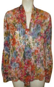 Newport News Vintage Floral Bell Sleeve Sheer Oneam001 Button Down Shirt multi
