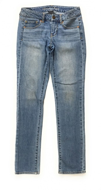 Item - Blue Stretch Zip Fly Mid Rise Skinny Jeans Size 28 (4, S)
