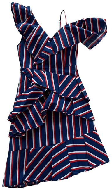 Item - Red White Blue Collegiate Stripes Mid-length Cocktail Dress Size 2 (XS)