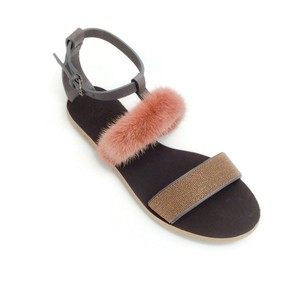 Brunello Cucinelli Brown / Rose Gold Sandals