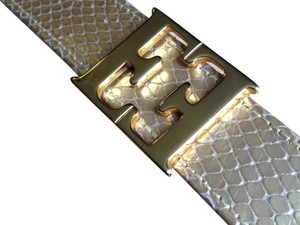 "Escada Escada gold reptile embossed leather belt with double ""E"" gold-tone logo prong buckle"