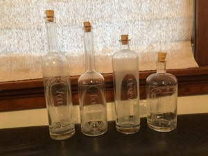 Glass 4 Etched Decanters Barware