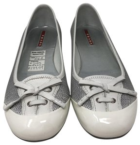 Prada Mesh Leather Flat white and silver Athletic