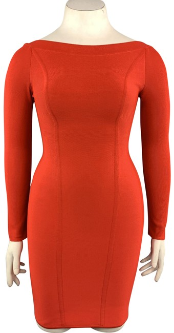 Item - Coral Red Vintage Open Back Long Sleeve Bandage Mid-length Cocktail Dress Size 8 (M)