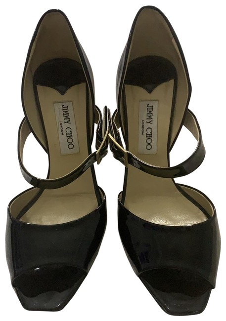 Item - 1/11 Womens Patent Leather Peep Toe Ankle Strap Pumps Black 10 Formal Shoes Size EU 40 (Approx. US 10) Regular (M, B)