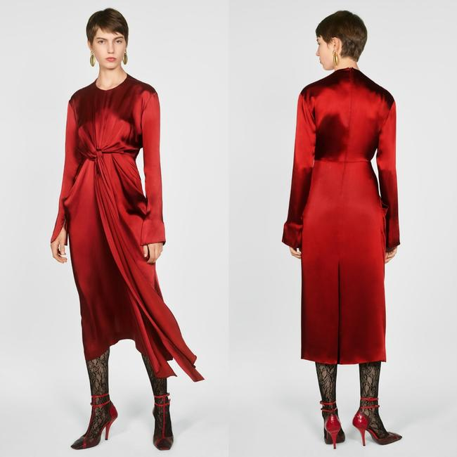 Zara Intense Red Campaign with Bow Details (8356) Long Casual Maxi Dress Size 8 (M) Zara Intense Red Campaign with Bow Details (8356) Long Casual Maxi Dress Size 8 (M) Image 2