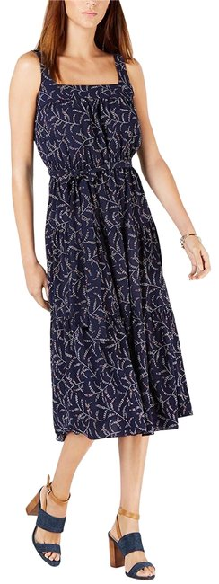 Item - True Navy Womens Floral Tiered Midi Long Cocktail Dress Size 18 (XL, Plus 0x)