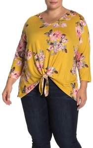 Como Clothing Floral Hi Lo Print Tie Stretchy Top Yellow