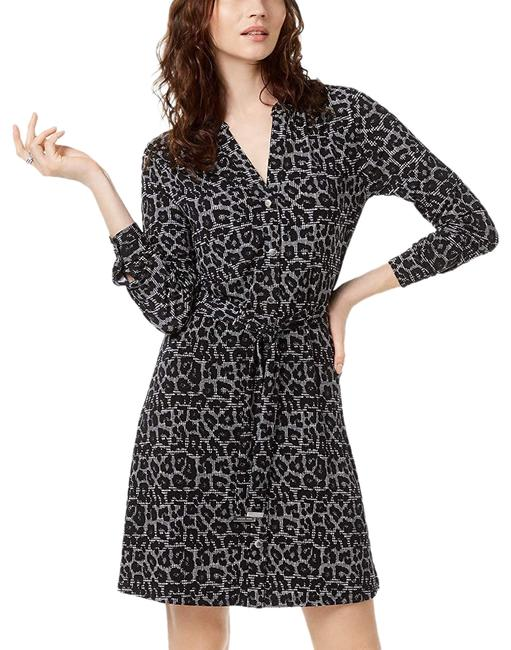 Michael Kors Black Womens Printed Shirtdress M Mid-length Cocktail Dress Size Petite 8 (M) Michael Kors Black Womens Printed Shirtdress M Mid-length Cocktail Dress Size Petite 8 (M) Image 1