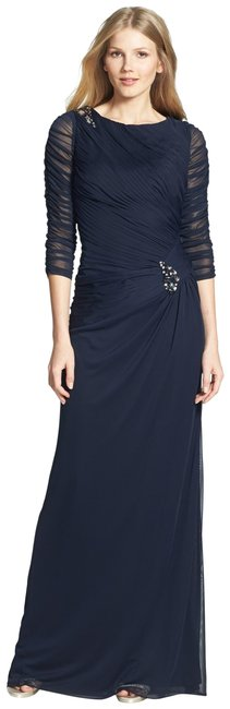 Item - Blue Sheer Sleeve Ruched Mesh Brooch Gown Long Night Out Dress Size Petite 8 (M)