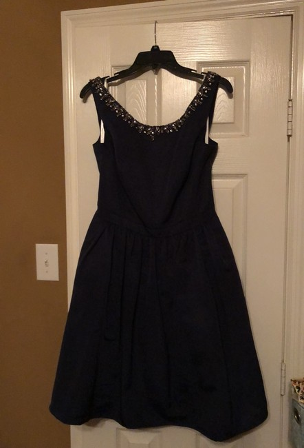 Item - Navy Polyester Casual Bridesmaid/Mob Dress Size 12 (L)