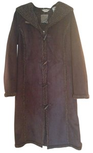 L.L.Bean Toggle Hooded Hood Faux Fur Fleece Wool Suede Long Long Hooded Suede Shearling Fur Coat