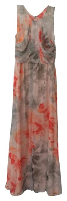 Item - Peach Gray White Long Casual Maxi Dress Size 2 (XS)