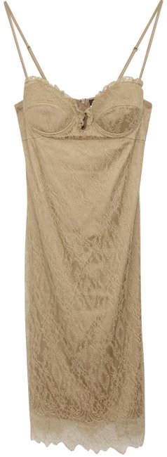 Item - Nude Bustier Lace Midi Slip Mid-length Cocktail Dress Size 8 (M)