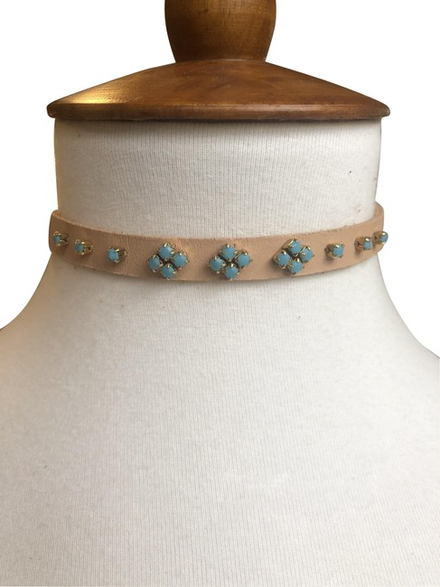 Item - Tan/Turquoise New Embellished Leather Choker Tan/Turquoise Necklace