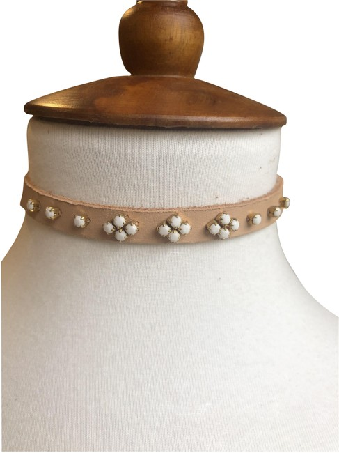Item - Tan/White New Embellished Leather Choker Tan/White Necklace
