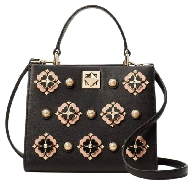 Item - Flower Embellished Turnlock Double Compartment Crosby Black/Gold/Light Pink Cowhide Leather Cross Body Bag