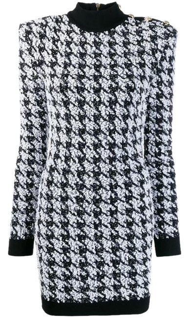 Item - Black and White Tweed Houndstooth Boucle Stretch Long Sleeve Mini Short Cocktail Dress Size 8 (M)