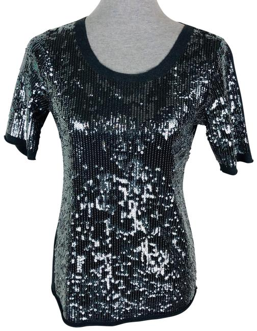 Item - Silver Dark Grey Sequin Blouse Size 6 (S)