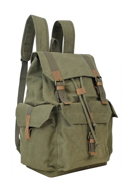 "Vagarant 15"" Sport Rucksack C03grn Green Canvas Backpack Vagarant 15"" Sport Rucksack C03grn Green Canvas Backpack Image 1"