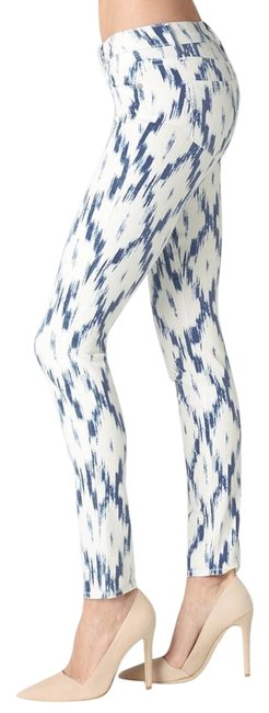 Item - Blue and Off White Alexandria Skinny Jeans Size 26 (2, XS)