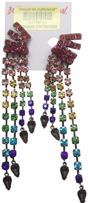 Item - Red New Clip-on Multi-colored Rhinestone Earrings
