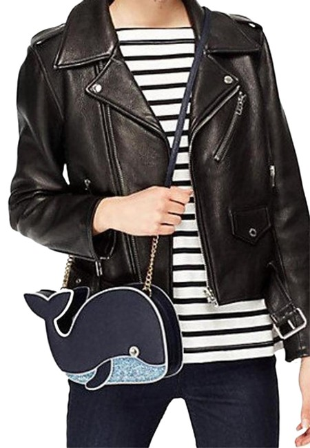 Item - Shoulder Off We Go Whale Navy Saffiano Leather Cross Body Bag