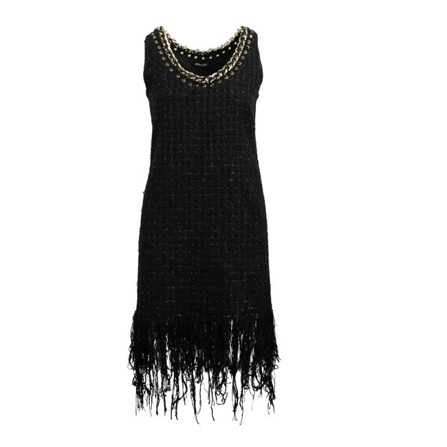 Item - Black Cotton Fringe-trimmed Tweed Mini Short Cocktail Dress Size 6 (S)