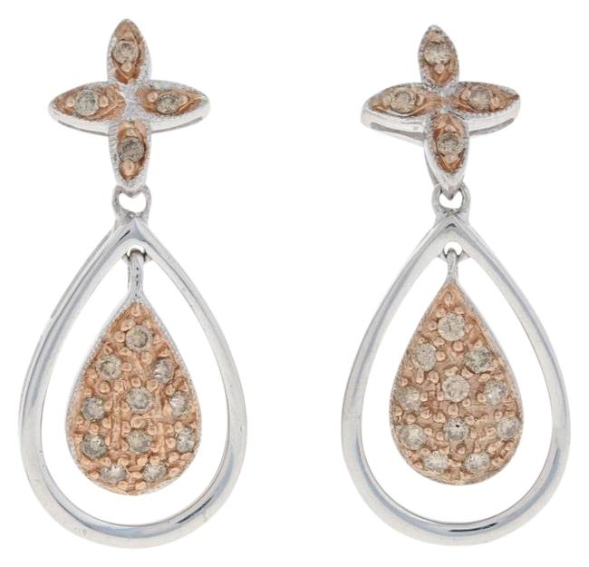 Item - Silver/Rose New .33ctw Round Brilliant Diamond Sterling Gold Plated Earrings