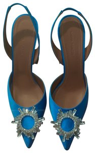 Amina Muaddi Blue Pumps