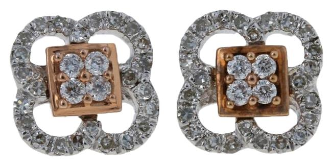 Item - Silver/Rose New .33ctw Round Cut Diamond Sterling & 14k Gold G6334 Earrings