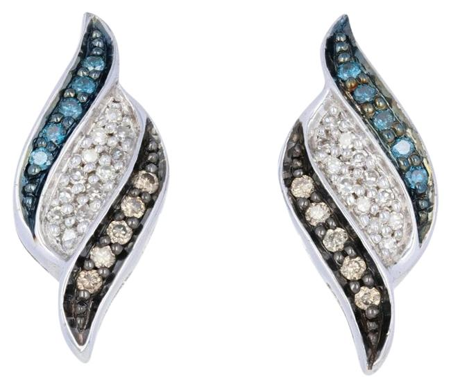 Item - Silver New .33ctw Single & Round Brilliant Diamond Sterling Earrings