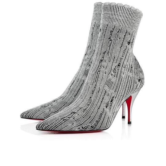 Preload https://img-static.tradesy.com/item/26628336/christian-louboutin-silver-sandrine-80-tricot-stretch-sock-kitten-stiletto-heel-ankle-bootsbooties-s-0-0-540-540.jpg