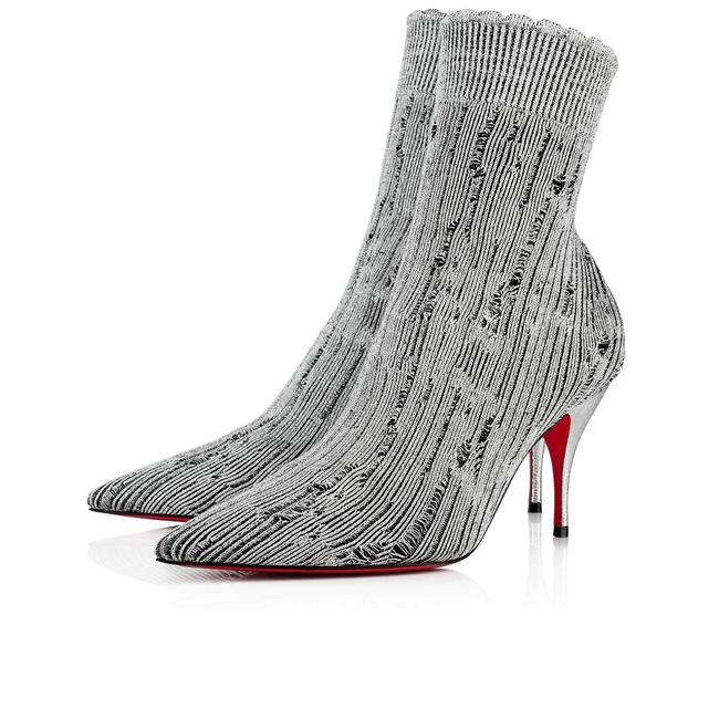 Christian Louboutin Silver Sandrine 80 Tricot Stretch Sock Kitten Stiletto Heel Ankle Boots/Booties Size EU 39.5 (Approx. US 9.5) Regular (M, B) Christian Louboutin Silver Sandrine 80 Tricot Stretch Sock Kitten Stiletto Heel Ankle Boots/Booties Size EU 39.5 (Approx. US 9.5) Regular (M, B) Image 1