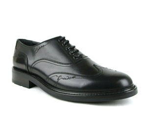 Saint Laurent Black Men's Leather Embroidered Oxford 43.5/Us 10.5 485440 Shoes