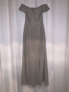 JJ's House Taupe Chiffon Sheath/Column Off-the-shoulder Floor-length Formal Bridesmaid/Mob Dress Size 6 (S)