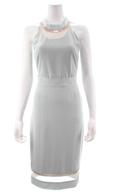 Item - Grey Light Beaded Top & Small Skirt Suit Size 4 (S)