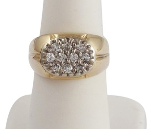 14k Yellow Gold & Diamond Oval Top Ladies Cocktail Ring