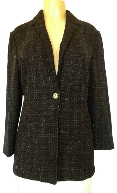 Item - Brown Collection Knit Tweed Jacket Shimmer Blazer Size 10 (M)