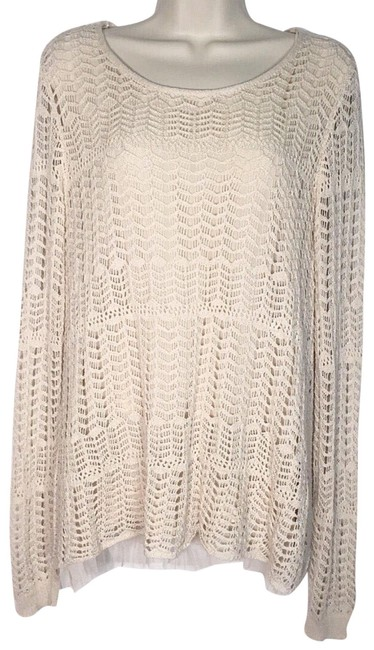 Item - Crocheted Ruffled Beige Sweater