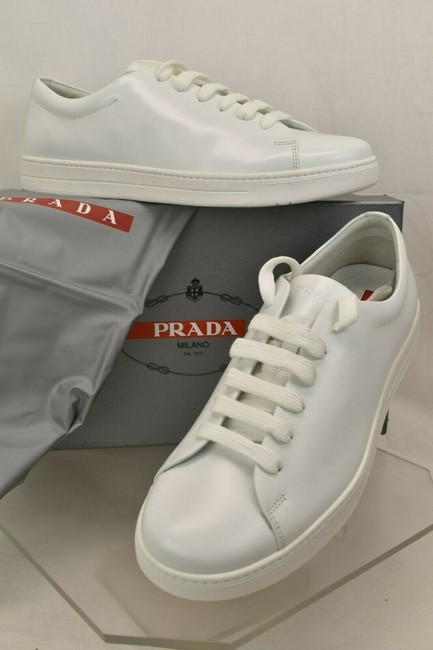 Item - White 4e2996 Polished Leather Lace Up Logo Low Top Sneakers Shoes