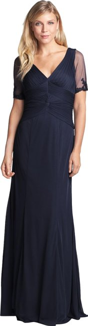 Item - Blue Embellished Ruched Bodice Mesh Gown Long Night Out Dress Size 8 (M)